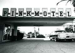 Fujica ST Pink Motel & Cadillac Jack's 2 (▓▓▒▒░░) Tags: california camera west history classic film sign analog 35mm vintage coast la losangeles great kitsch retro socal hollywood