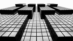 Cubism London or London Tetris (New 2016 Version) - City Office Life (Simon & His Camera) Tags: city urban blackandwhite bw white abstract black reflection building london tower art geometric window glass monochrome lines vertical architecture composition contrast mirror office pattern distorted outdoor vertigo symmetry lookingup cube simonandhiscamera