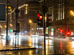 Untitled (kishjar?) Tags: road cars wet rain night buildings traffic moscow ring stalinist