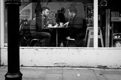 Cafe (Paul David Price) Tags: white black men london cafe eating saturday meeting february talking streetphotograph
