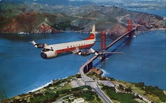 """Western Airlines """"Electrical"""" Over Golden Gate Bridge, San Francisco (SwellMap) Tags: architecture plane vintage advertising design pc airport 60s fifties aviation postcard jet suburbia style kitsch retro nostalgia chrome americana 50s roadside googie populuxe sixties babyboomer consumer coldwar midcentury spaceage jetset jetage atomicage"""
