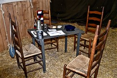 Table and Chairs - Military Fest - Saint Charles IL (Meridith112) Tags: winter stilllife history table illinois chair nikon midwest chairs military historic il convention historical hay kanecounty february fest reenactors saintcharles reenact pretend reenacting 2016 megacenter nikon2485 militaryfest nikond610