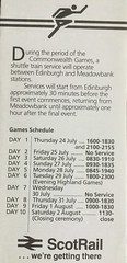Advertisement in venues map for XIII Commonwealth Games Scotland 1986 mentioning the shuttle trains from Edinburgh Waverley to Meadowbank Stadium. (calderwoodroy) Tags: scotrail eventtrains specialtrains specialtrainservice disusedstations edinburghtransport edinburgh1986 xiiicommonwealthgamesscotland1986 commonwealthgames 1986 meadowbankstadium meadowbank edinburgh