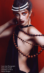 'Tometic.' (Laura Jane Harding) Tags: light red beautiful face fashion nude beads model raw dress emotion makeup tribal expressive concept implied