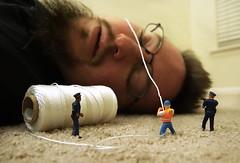 1/52 - Gulliver's Self Portrait (John Flinchbaugh) Tags: selfportrait carpet toys miniature construction floor meetup police rope gulliver string worker ropes restraint project52