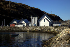 The Harris Distillery (mootzie) Tags: scotlandouterhebrides portrockssea distillery tarbert harris reflections sky blue white whisky gin hearach peat fire drink alcohol tour