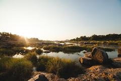 Hampi (Zaikhan) Tags: travel blue sunset orange brown india lake reflection water beautiful rock canon landscape 50mm rocks pretty roadtrip boulder boulders canon5d karnataka sights hampi canon50mm 14mm canoneos5d traveljournal incredibleindia canoneos5dmarkii canon5dmarkii