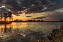 Fairy tale lake 2 (piotrekfil) Tags: sunset sun sunlight lake nature water clouds reflections landscape pentax poland waterscape piotrfil