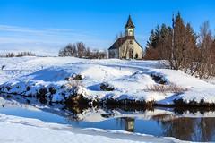 ingvallakirkja (holger.torp) Tags: blue winter sky snow church outdoor ingvellir icle icecold speglun xar ingvallakirkja ingvallabrinn