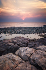 Pastel evening (abhishek.deopurkar) Tags: ocean pink blue sunset sea summer sky seascape beach water clouds landscape evening coast rocks colorful waves dusk pastel tide indianocean peaceful delight flowing mumbai