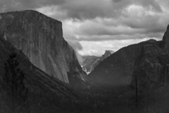 Yosemite Valley Rain (Monochrome) (Life_After_Death - Shannon Day) Tags: life california park autumn sunset blackandwhite bw cliff cloud sun sunlight white mountain black mountains art history fall nature monochrome rain rock clouds canon season wonder landscape outdoors photography eos death mono evening blackwhite nationalpark day view purple natural outdoor nevada hill grand panoramic falls sierra shannon chrome national yosemite granite historical after yosemitenationalpark mountainside dslr eastern canondslr canoneos majesty crag sierranevadamountains lifeafterdeath 50d shannonday canoneos50d eosdslr canoneos50ddslr lifeafterdeathstudios lifeafterdeathphotography shannondayphotography shannondaylifeafterdeath lifeafterdeathstudiosartandphotography shannondayartandphotography
