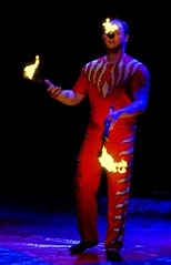 I'm on fire... (breboen) Tags: show vegas hot reindeer nose fire bright circus stripes flames pussy crotch burning entertainment heath catch juggling suite puss throw