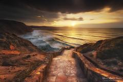 Atardecer en Barrika (Mimadeo) Tags: ocean sunset sea wild sky cliff beach sunshine stone clouds stairs coast waves steps coastline bizkaia euskadi vizcaya basquecountry paisvasco barrika