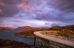Dusk at the Kylesku Bridge (Tracey Whitefoot) Tags: bridge sunset lake west concrete coast scotland dusk north scottish loch tracey sutherland girder 2016 whitefoot kylesku a northcoast500 nc500 chirn bhin