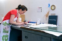 Megan Piontkowski in the Studio (Women's Studio Workshop) Tags: sailing handmade screenprinting silkscreen printmaking feminism nautical bookbinding bookmaking bookarts artistsbook womenartists