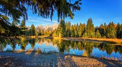 Tetons (stewartbaird) Tags: blue autumn trees sky usa lake mountains nature landscape nationalpark wyoming grandteton 2012