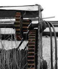 Just going through the motions (Grooover) Tags: fan suffolk belt wire rope cogs gears winch aldeburgh grooover