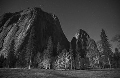 The howling wolf at full moon (PeterThoeny) Tags: california park longexposure winter light blackandwhite mountain tree monochrome rock night landscape nationalpark raw outdoor headlights fullmoon clear valley yosemite serene yosemitenationalpark yosemitevalley yosemitepark photomatix fav200 1xp nex6 selp1650