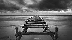 Line (Indria Fe Photowork) Tags: blackandwhite seascape art beach clouds landscape outdoor fineart line