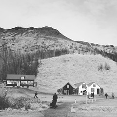 Skgar, Iceland (kruupfi) Tags: bw white black mountains island iceland village mysterious skogar