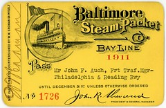 Baltimore Steam Packet Company Pass, 1911 (Alan Mays) Tags: old travel red philadelphia yellow vintage paper boats tickets typography reading florida antique circles ships transport illustrations trains baltimore flags ephemera transportation type banners 1910s bays fonts railways printed presidents admissions borders passes signatures railroads 1911 chesapeakebay typefaces sherwood managers auch steamers scrolls erdman steamboats steamships fillintheblanks rdg readingrailroad bayline philadelphiareading steamshiplines admissiontickets generalmanagers oldbayline philadelphiaandreading philadelphiaandreadingrailway steamboatcompanies baltimoresteampacketcompany johnfauch gaslightstyle philadelphiareadingrailway steamboatpasses baltimoresteampacketco steampackets johnrsherwood wwerdman freighttrafficmanagers trafficmanagers