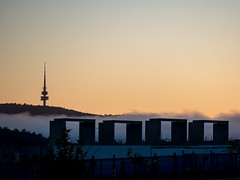 21st century Stonehenge (Rod Burgess) Tags: building sunrise canberra blackmountain act coombs telstratower