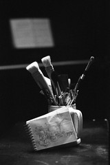 Still life with paintbrushes, sketchbook and piano (Richard Wintle) Tags: blackandwhite bw stilllife film monochrome 35mm painting paint asahi pentax takumar piano brush 55mm 200 brushes spotmatic 135 f18 smc foma fomapan spotmaticf adox adonal film:iso=200 fomafomapan200 film:brand=foma film:name=fomafomapan200 developer:brand=adox adoxadonal developer:name=adoxadonal filmdev:recipe=10692