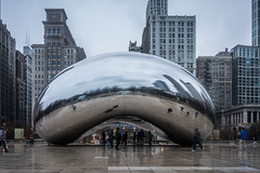 The Bean in the Rain (Flipped Out) Tags: chicago millenniumpark cloudgate thebean