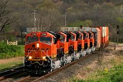 Sextet of Fresh GE's in KC (Jeff Carlson_82) Tags: new railroad train ks railway fresh kansas ge shawnee signal railfan bnsf zarah intermodal doublestack burlingtonnorthernsantafe maidenvoyage tier4 gevo 3788 emporiasub tieriv zaltwsp et44c4