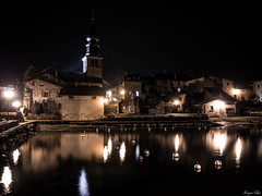 Home Sweet Home (Morgane Klber) Tags: city longexposure travel lake france reflection church architecture night cityscape escape tranquility belltower yvoire