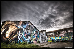 Grafittis (Fisheye Creation) Tags: sky urban colors clouds brittany paint bretagne ciel nd nuages urbanscape density urbex neutral lorient nd500
