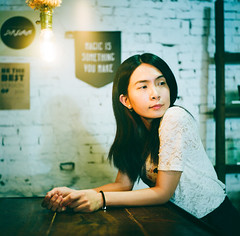 5Senses Cafe (Mr.Sai) Tags: portrait 120 6x6 film coffee girl analog cafe fuji taiwan mat 124g medium format taipei yashica 80mm f35      pro160ns