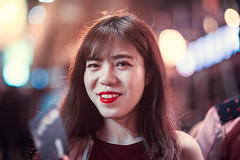 Portrait of a Stranger (Jon Siegel) Tags: portrait woman girl beautiful smile smiling night hongkong evening nikon bokeh 14 chinese 85mm lankwaifong nikkor 85mmf14 d810 hongkongese nikkor85mmf14afd