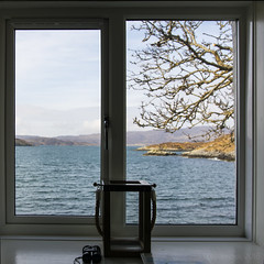 Window with a Hebridean view - HWW! (lunaryuna) Tags: sea tree window landscape scotland holidays solitude view cottage lunaryuna westernisles islets outerhebrides peaceandquiet isleofharris remoteness windowwithaview lewisandharris windowwednesday