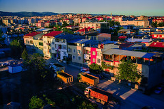 Exxed (Melissa Maples) Tags: morning skyline sunrise buildings turkey dawn xpro crossprocessed nikon asia trkiye crossprocessing trucks nikkor vr afs bursa  lorries 18200mm  f3556g  18200mmf3556g d5100