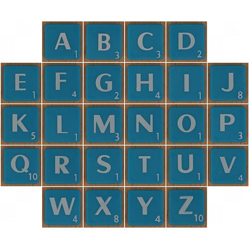 Scrabble white letter on blue alphabet