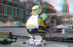 Statue Haagse Harry in The Hague 3D (wim hoppenbrouwers) Tags: statue 3d anaglyph denhaag stereo thehague standbeeld redcyan haagseharry marnixrueb stripheld