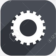 Cog settings sign icon. Cogwheel gear symbol. (CesGlez) Tags: shadow red black art geometric wheel sign yellow set illustration fix circle square flat graphic symbol metro mark quality background label creative style gear icon stamp business seal repair badge technical round button service cogwheel concept colourful token shape cog template pictogram mechanism app settings