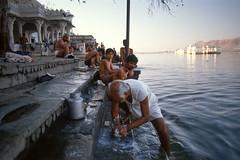 Udaipur, 1991, #1 (twoeye) Tags: morning lake film analog sunrise pentax slide palace scan bathing fujichrome udaipur ghat