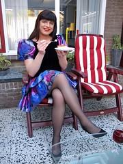 Double bliss (Paula Satijn) Tags: blue hot sexy stockings girl cake shiny dress legs silk skirt tgirl transvestite pastry upskirt satin miniskirt tompouce gulr