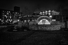 Spirits and History (CJ Schmit) Tags: nightphotography winter blackandwhite bw cold brick monochrome wisconsin night canon lowlight timber 1800s drinking historic spirits drinks alcohol milwaukee tannery mke shutterdrag canonef1740mmf40lusm greatlakesdistillery canon5dmarkiii cjschmit 5dmarkiii wwwcjschmitcom niksilverefex2 cjschmitphotography tannerybusinesscenter
