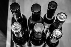 Olive Oil and Vinegar (Marcy Leigh) Tags: blackandwhite monochrome bottle bottles oil vinegar oliveoil cupboard oilandvinegar 68116 oliveoilandvinegar 116picturesin2016
