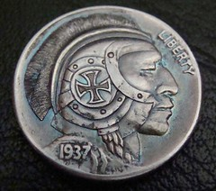 "'The Brave Knight' Hobo nickel/coin carving • <a style=""font-size:0.8em;"" href=""http://www.flickr.com/photos/72528309@N05/24015454233/"" target=""_blank"">View on Flickr</a>"