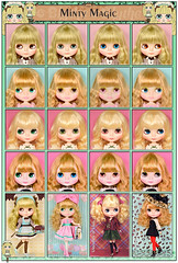Neo Blythe Comparison: Minty Magic (MM/1st Row), Junie Moonie Cutie (JMC/second row), University of Love (UoL/third row) and Leopard Sass (LS/last row)