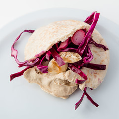 .DEERLIJK. 09/01/2016. Grilled chicken in a pita with rodecoleslaw 'on the side' (annick vanderschelden) Tags: chicken season cut fat cucumber tasty remove hardcore heat cabbage quarter oliveoil grilled hummus slices core coleslaw protein drizzle pita redcabbage ontheside 8minutes pepperandsalt applecidervinegar withateaspoon thinstrips rodecoleslaw 150gramsofslicedradishes halfonionintorings halflengthwise removetheseeds slicethecucumber mixthevegetables 150millilitersofapplecidervinegar 20minutestomarinate stiroccasionally heatthegrillpanwithoutoilorbutter 400gchickenbreastfillets 2tablespoons seasonwithpepperandsalt chickengrilling turnhalfway 4pitabreads asdirectedonthepackage drainthemarinatedvegetables fillpitas servewiththerestofcoleslaw