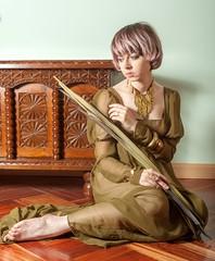 Virgen Castellana (misshellbabe) Tags: wood hairdye pose model pinkhair transparencies posado gasa