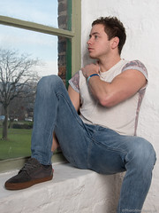 Charles (PhotoMechanic.uk) Tags: blue man male guy window fashion youth pose studio model sitting photoshoot tshirt dude jeans trendy sit casual alcove