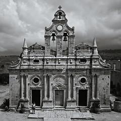 Arkadi Monastery (gwelr) Tags: blackandwhite church monochrome landscape flickr c11 2015 darktable gwelr