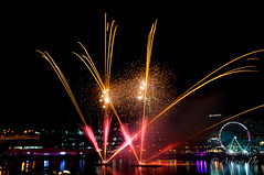 Fireworks for the month of Love (Asteria D.) Tags: longexposure green love beauty photography bay fireworks harbour valentine celebration nighttime colourful weekly month darling collective cockle pyrotechnic