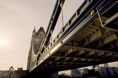 Tower Bridge (Eveans Mellonie) Tags: winter sun london film towerbridge 35mm nikon kodak warmth fe 100asa ektar ilovefilm filmisnotdead nikkor24mmf28